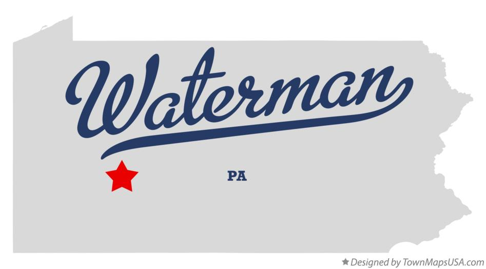 Map of Waterman Pennsylvania PA