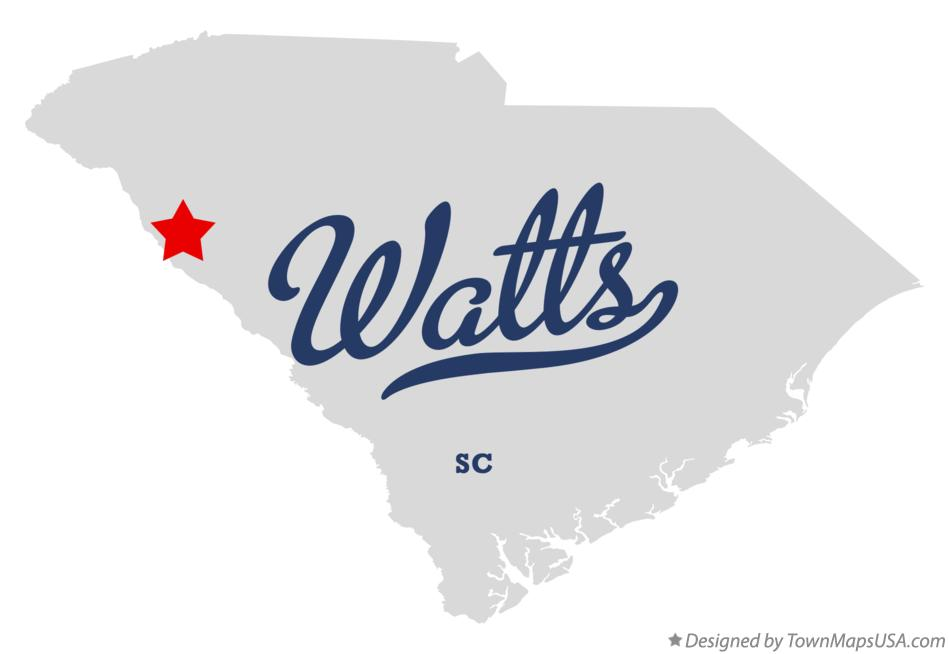 Map of Watts South Carolina SC