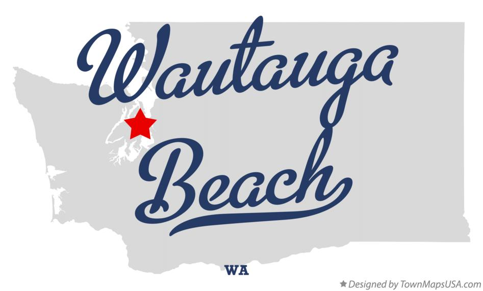 Map of Wautauga Beach Washington WA
