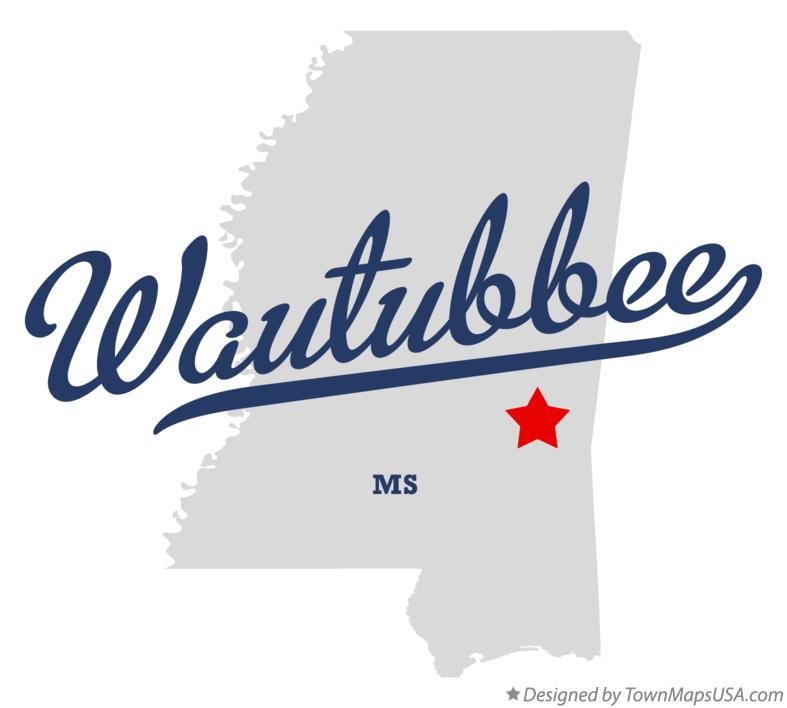 Map of Wautubbee Mississippi MS