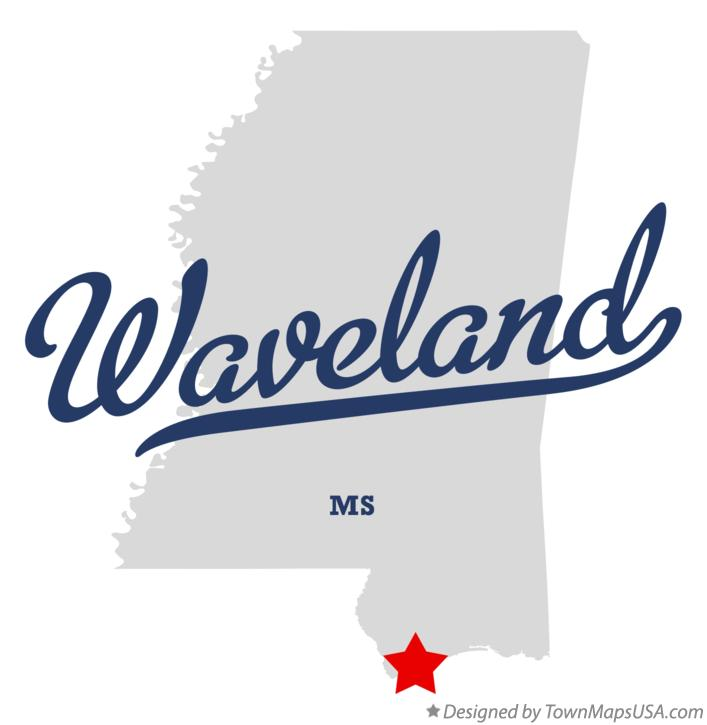 Map of Waveland Mississippi MS