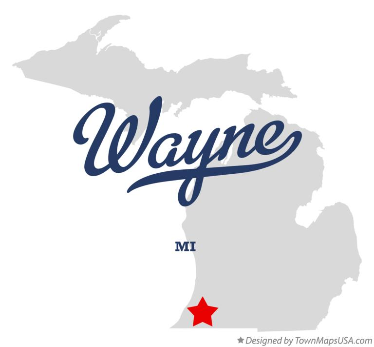 Map of Wayne Michigan MI