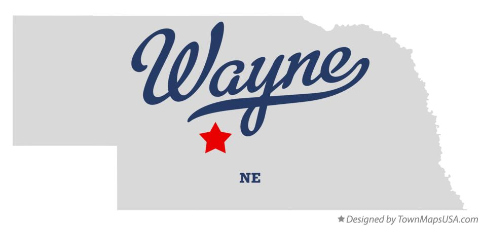 Map of Wayne Nebraska NE
