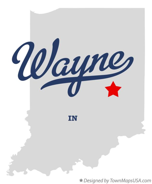 Map of Wayne Indiana IN