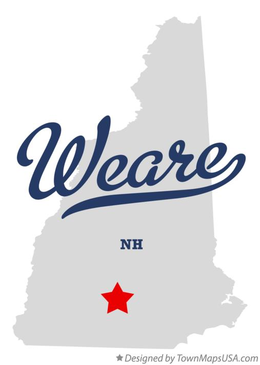 Map of Weare New Hampshire NH