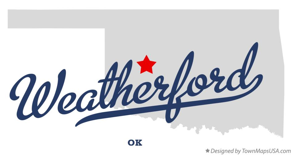 Map of Weatherford Oklahoma OK