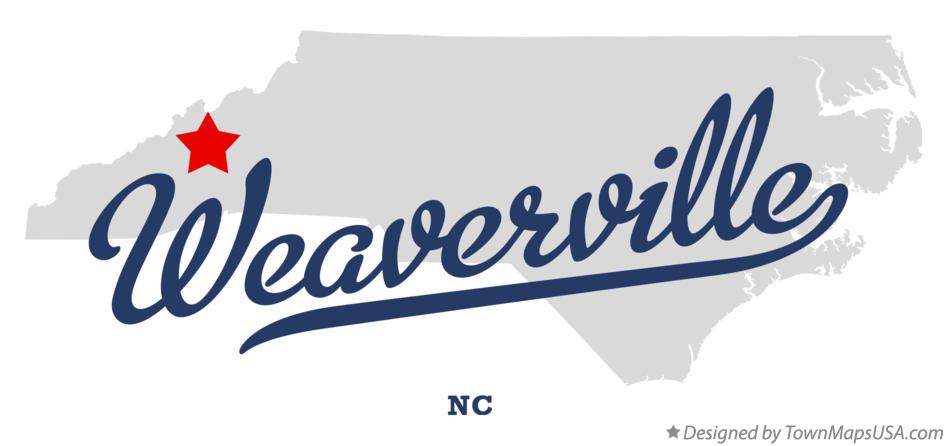 Map of Weaverville North Carolina NC