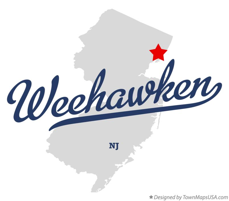 Map of Weehawken New Jersey NJ