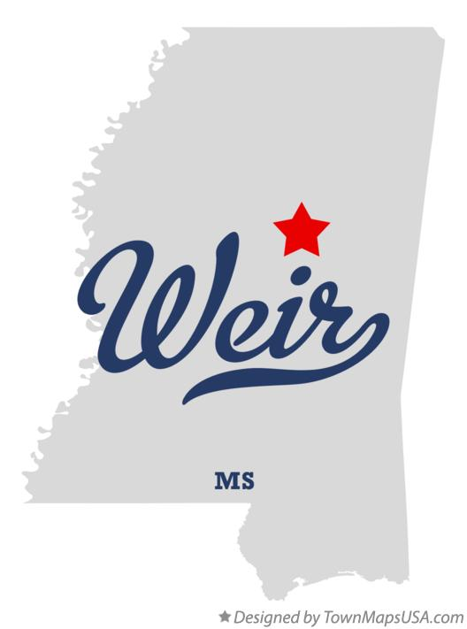 Map of Weir Mississippi MS