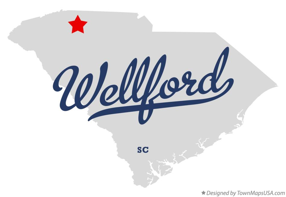 Map of Wellford South Carolina SC