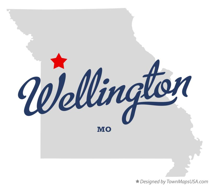 Map of Wellington Missouri MO