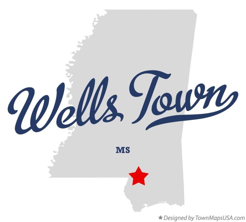Map of Wells Town Mississippi MS