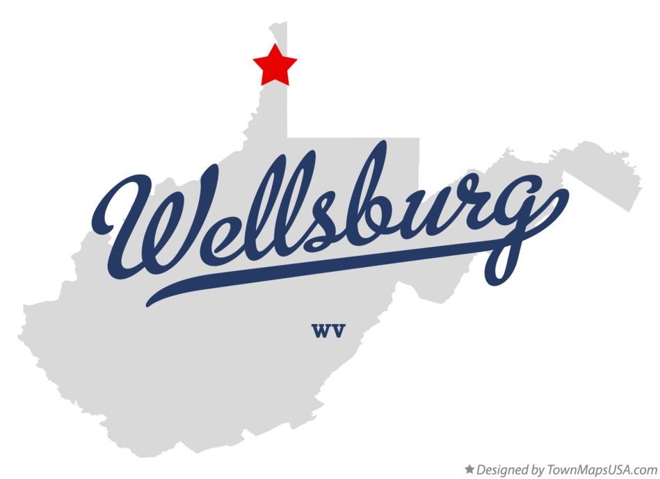 Map of Wellsburg West Virginia WV
