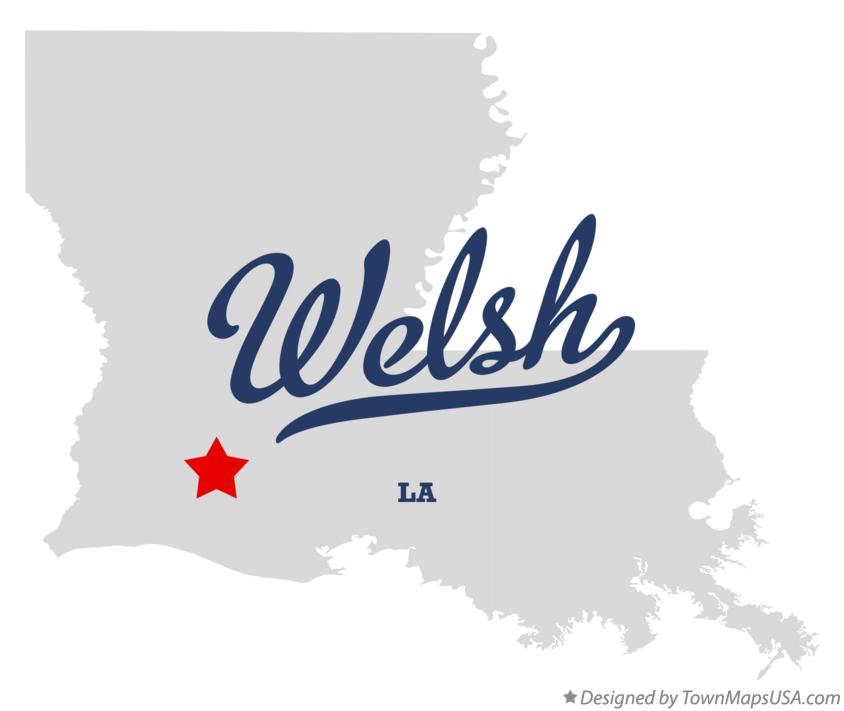 Map of Welsh Louisiana LA