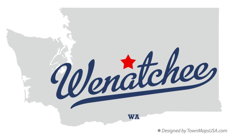 Map of Wenatchee Washington WA