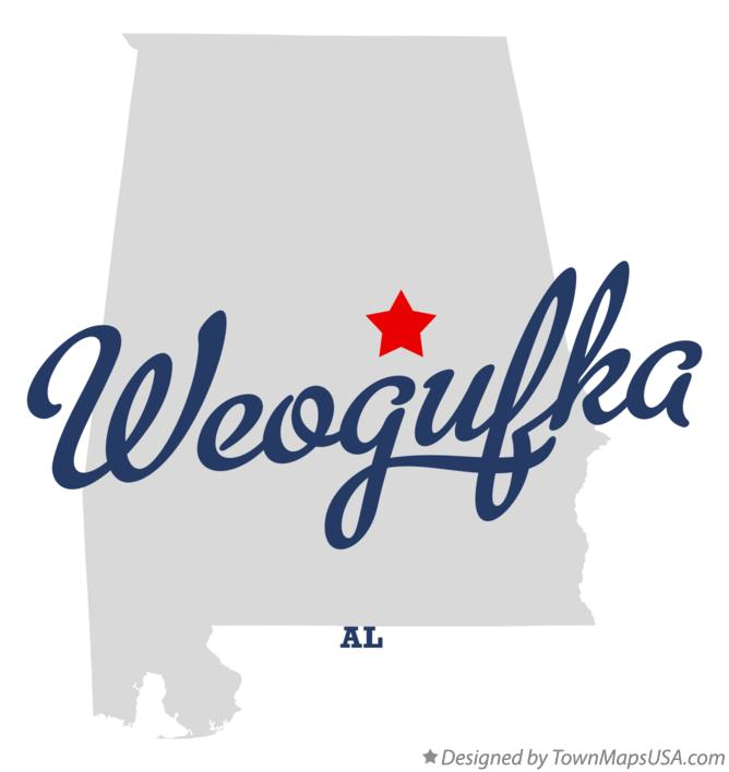 Map of Weogufka Alabama AL