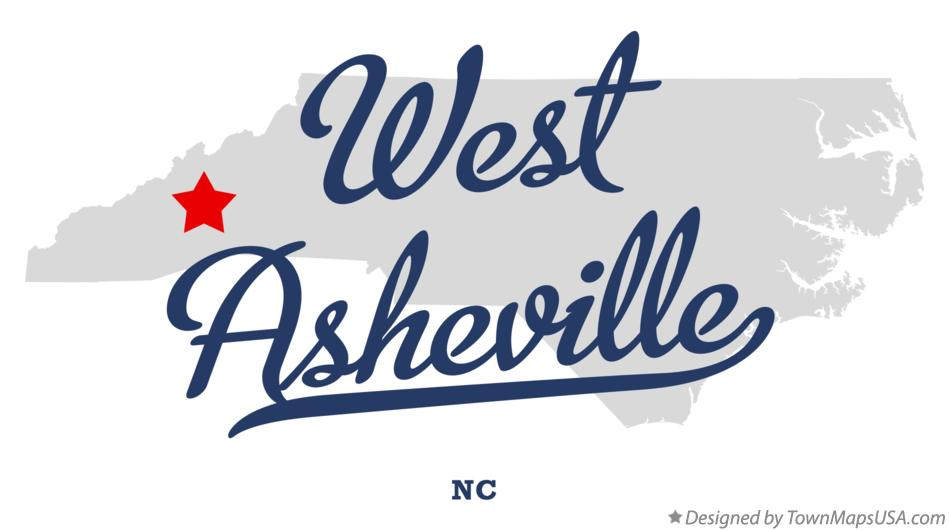 Map of West Asheville North Carolina NC