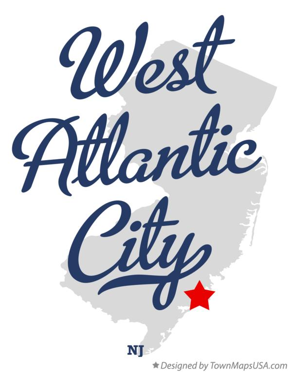 Map of West Atlantic City New Jersey NJ
