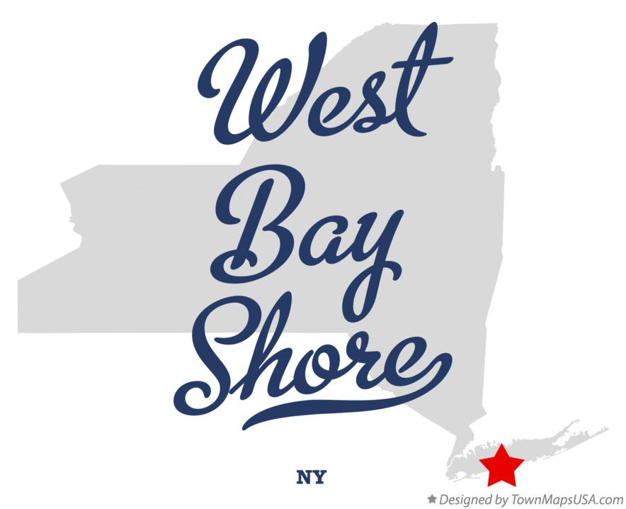 Map of West Bay Shore New York NY