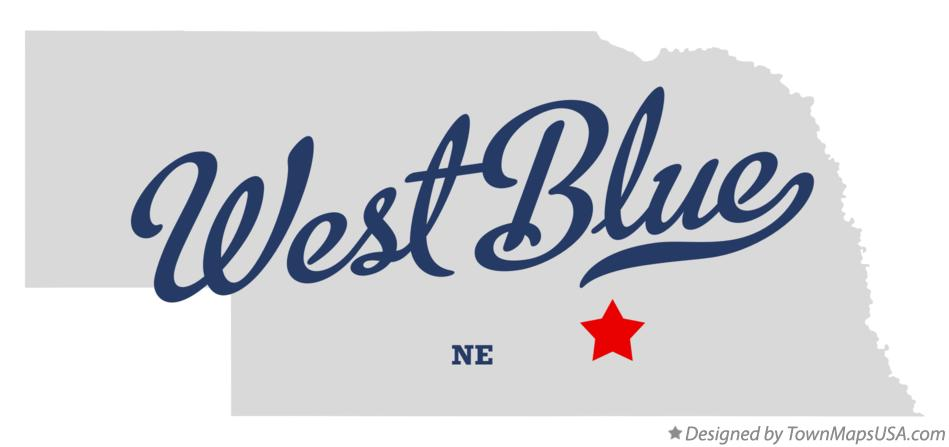Map of West Blue Nebraska NE