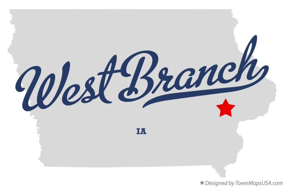West Branch Iowa Map.Map Of West Branch Cedar County Ia Iowa