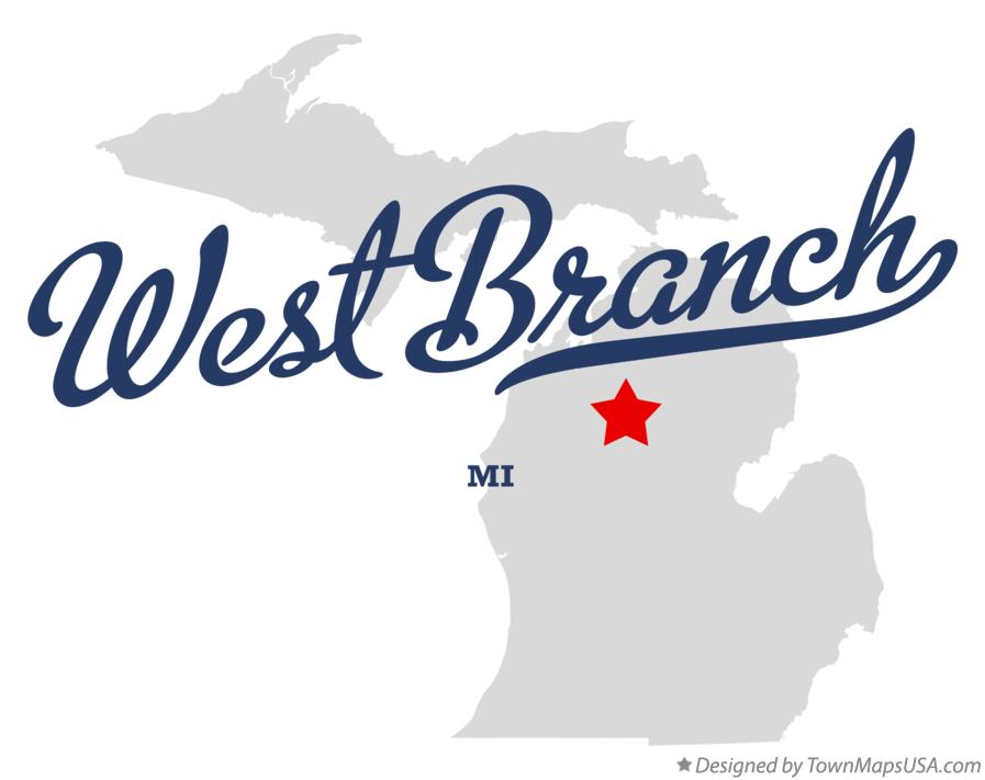 Map of West Branch Michigan MI