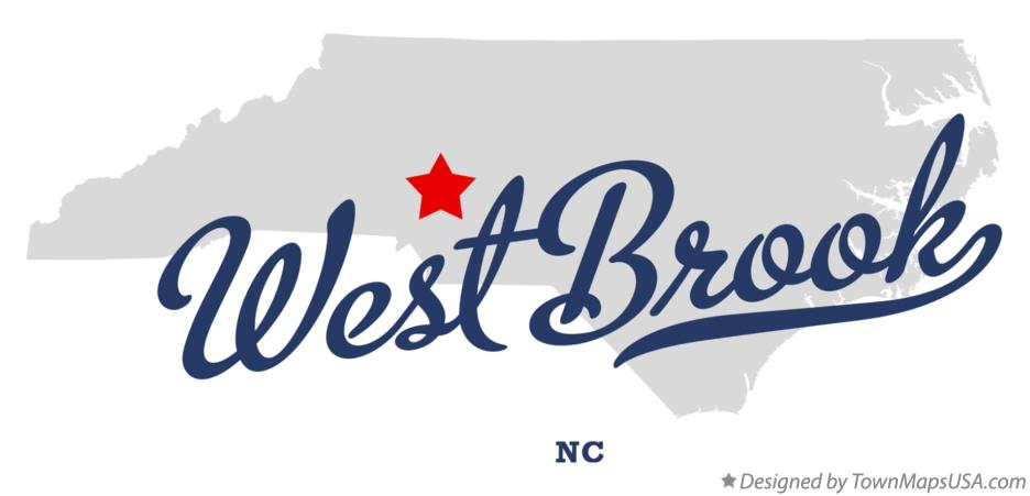 Map of West Brook North Carolina NC
