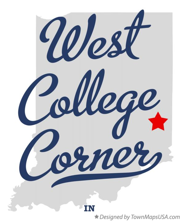 Map of West College Corner Indiana IN