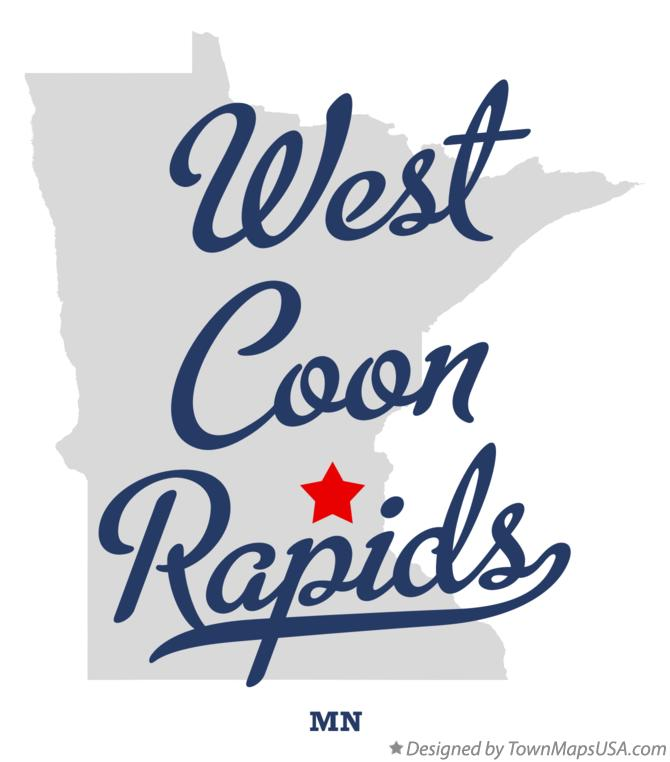 Map of West Coon Rapids Minnesota MN