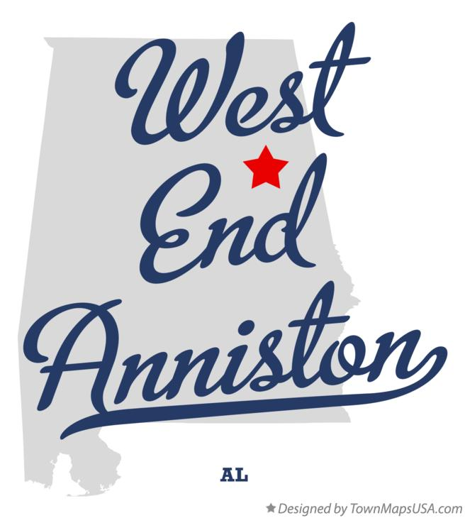 Map of West End Anniston Alabama AL