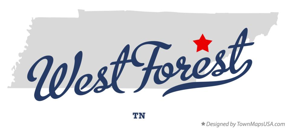 Map of West Forest Tennessee TN