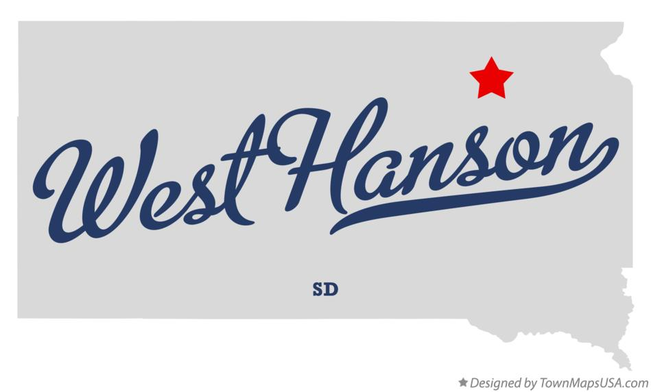 Map of West Hanson South Dakota SD