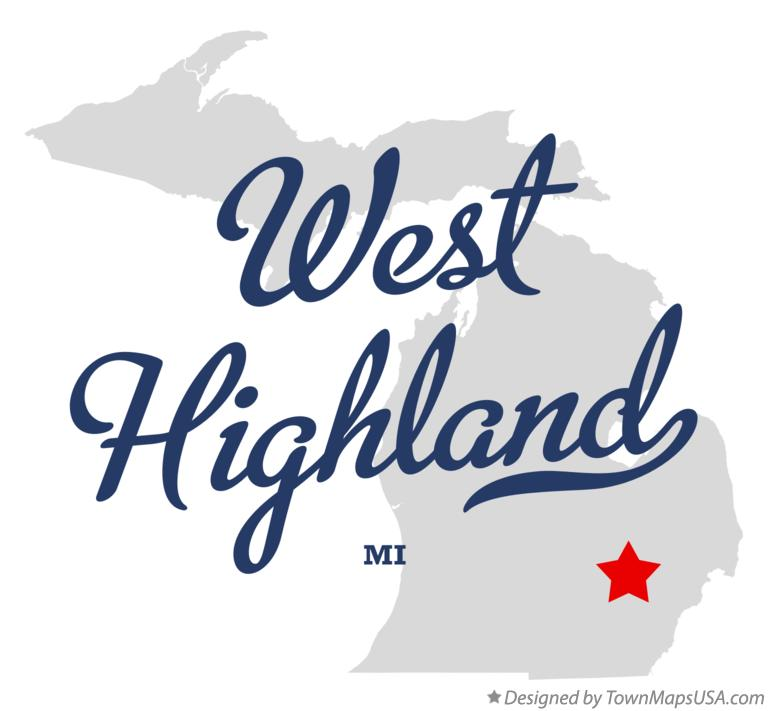 Map of West Highland Michigan MI