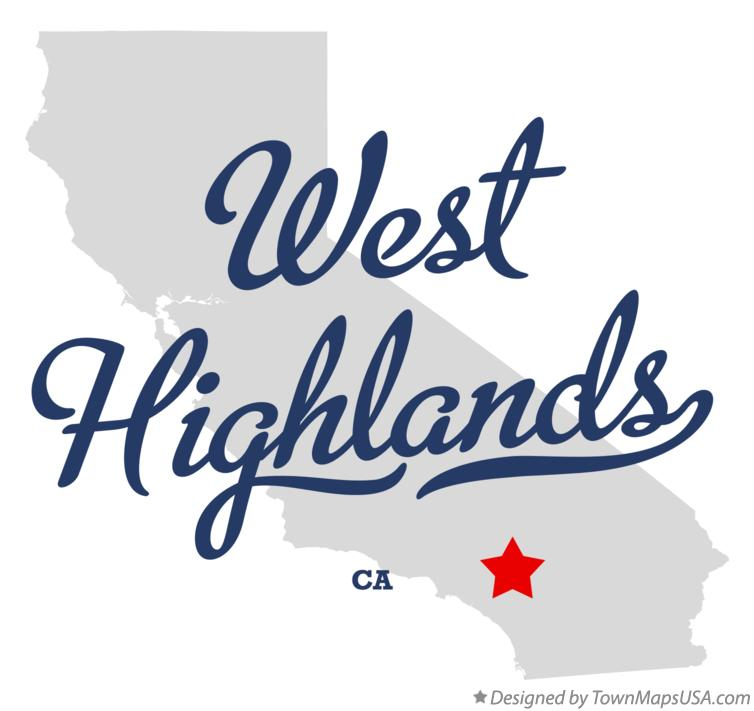 Map of West Highlands California CA