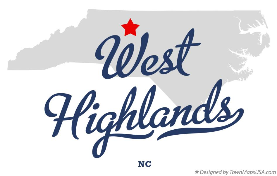 Map of West Highlands North Carolina NC
