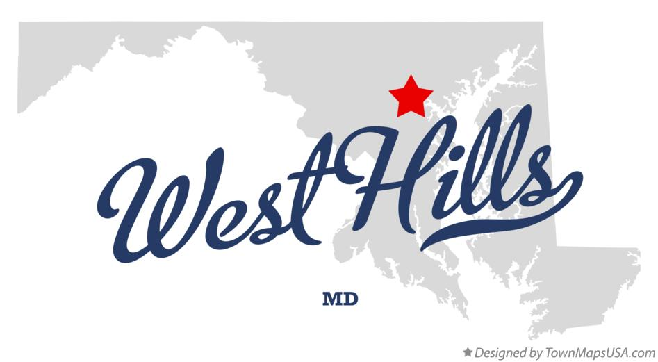 Map of West Hills Maryland MD