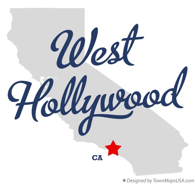Map of West Hollywood California CA