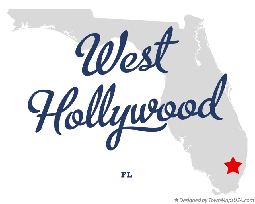 Map of West Hollywood Florida FL