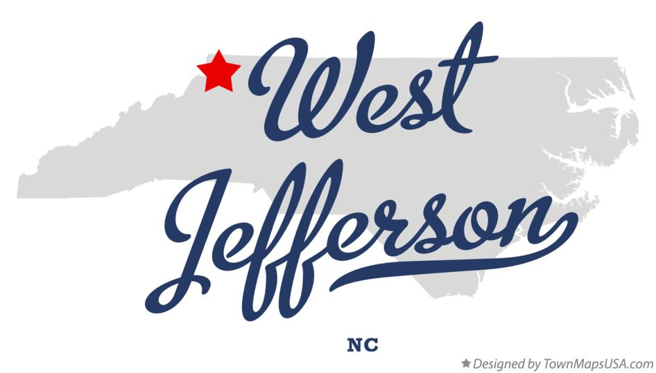 Map of West Jefferson North Carolina NC