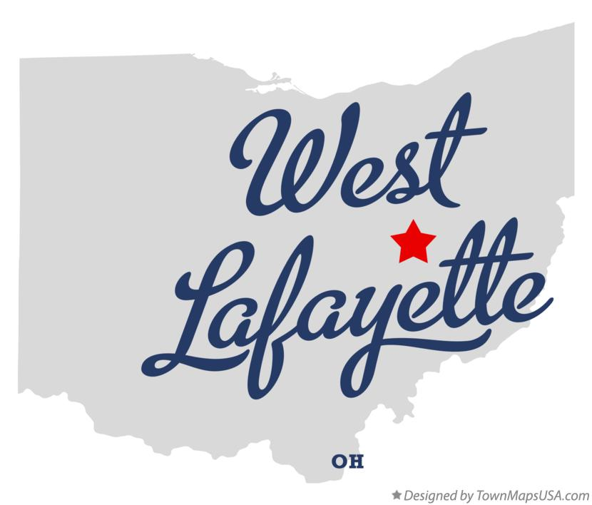 Map of West Lafayette Ohio OH