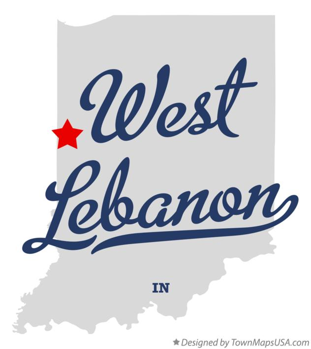Map of West Lebanon Indiana IN