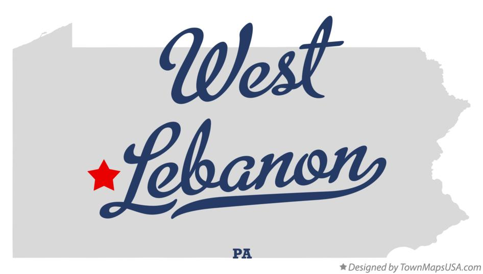 Map of West Lebanon Pennsylvania PA