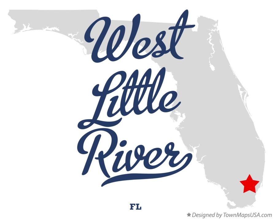 Map of West Little River Florida FL