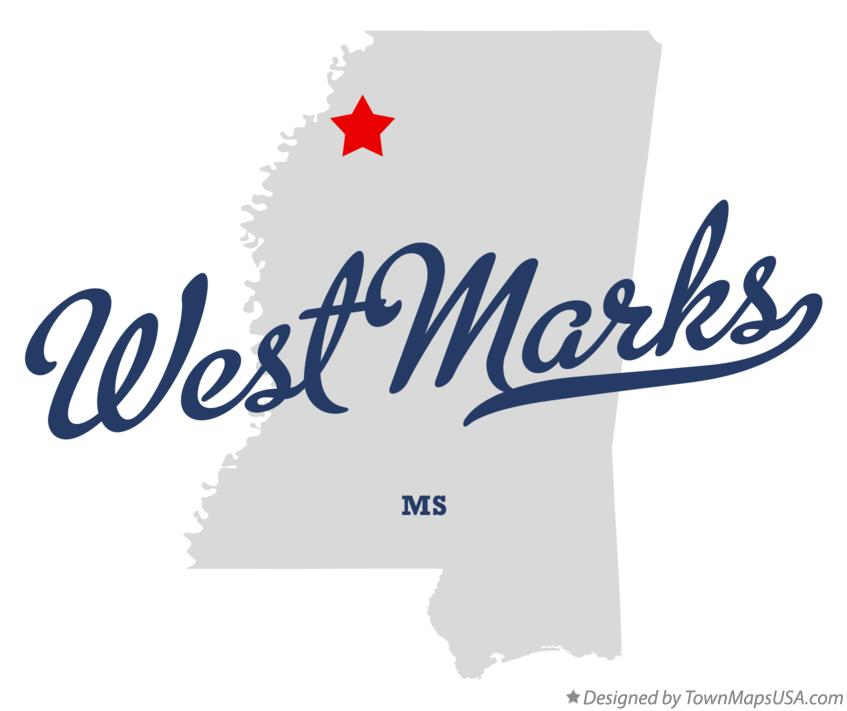 Map of West Marks Mississippi MS