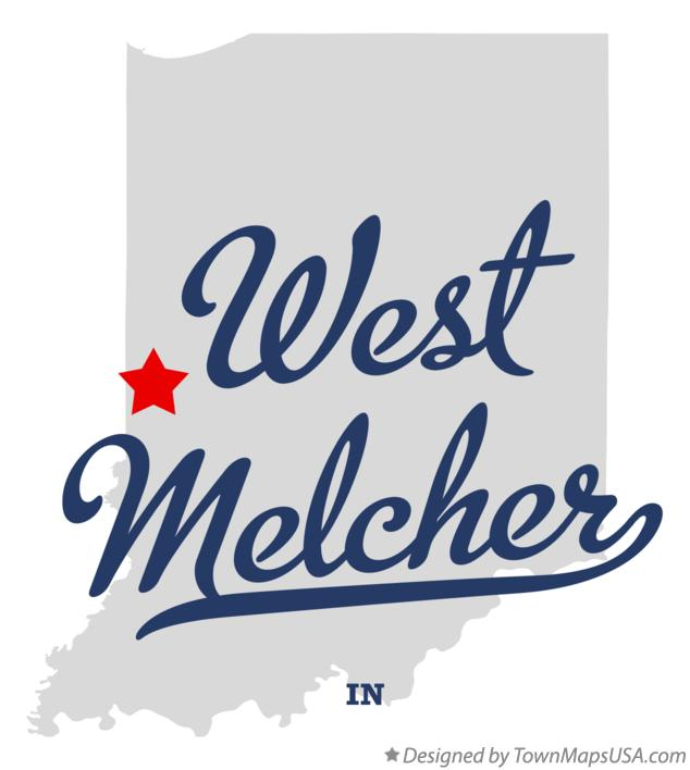 Map of West Melcher Indiana IN
