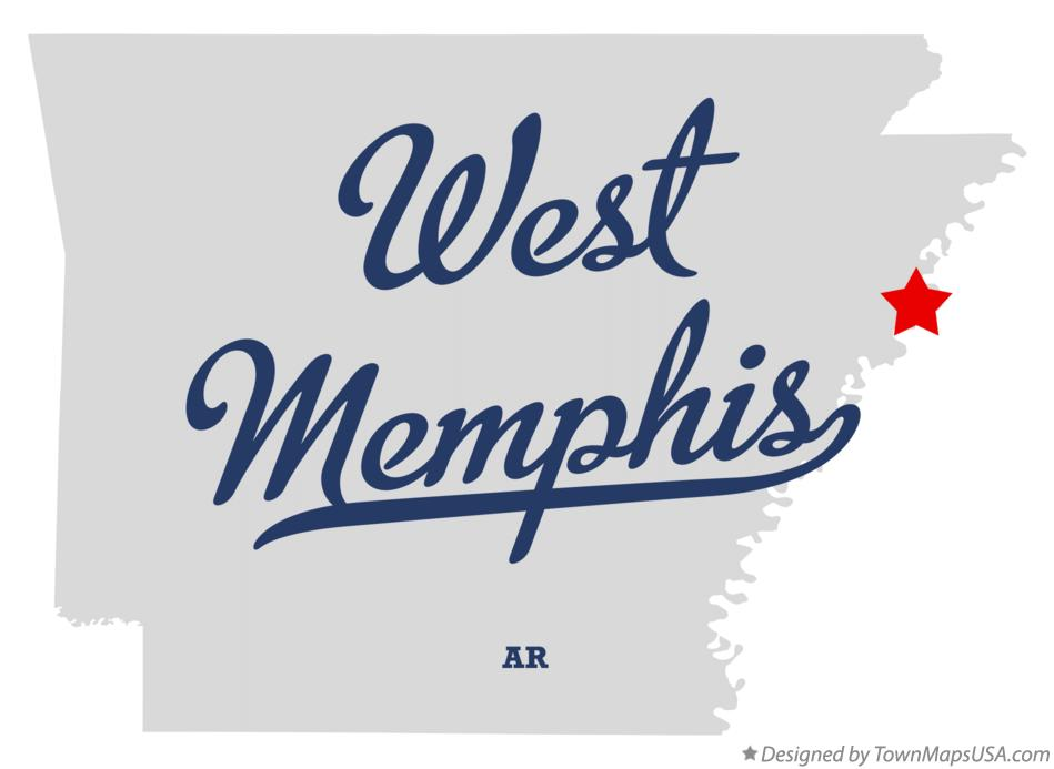 Map of West Memphis Arkansas AR