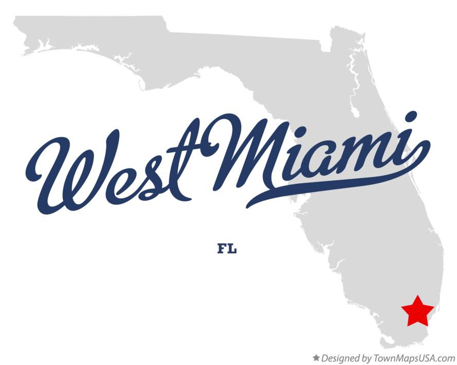 Map of West Miami Florida FL