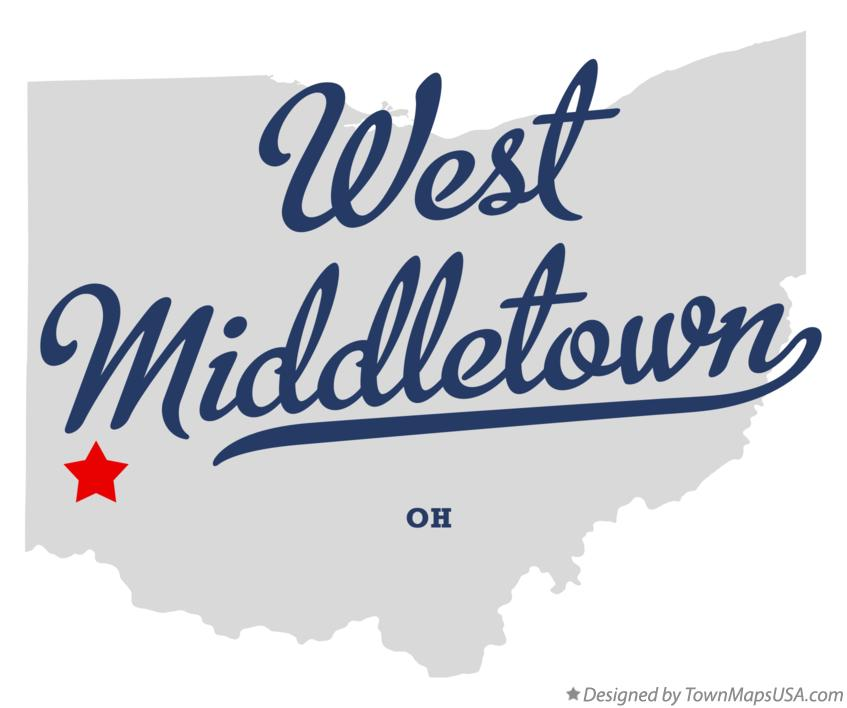 Map of West Middletown Ohio OH