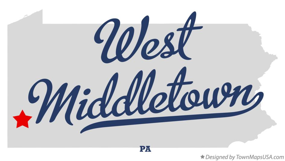 Map of West Middletown Pennsylvania PA