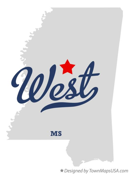 Map of West Mississippi MS
